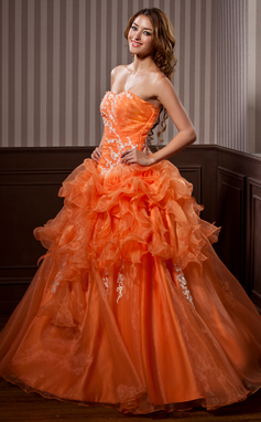 Платье для Балла В виде сердца Длина до пола Органза Пышное платье с аппликации кружева Ниспадающие оборки (021004720)
