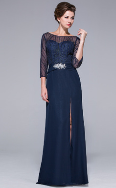 Sheath/Column Off-the-Shoulder Floor-Length Chiffon Mother of the Bride Dress With Beading Sequins Split Front (018025501)
