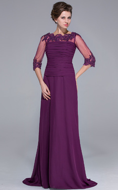 A-Line/Princess Off-the-Shoulder Sweep Train Chiffon Mother of the Bride Dress With Ruffle Lace Beading Sequins (008025696)