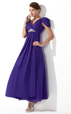 Vestidos princesa/ Formato A Decote V Longuete De chiffon Vestido de madrinha com Pregueado Bordado (007013104)