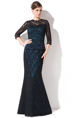 Trumpet/Mermaid Scoop Neck Floor-Length Lace Mother of the Bride Dress (008042314)