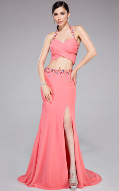 Trumpet/Mermaid Halter Sweep Train Chiffon Prom Dress With Ruffle Beading Split Front (018046221)