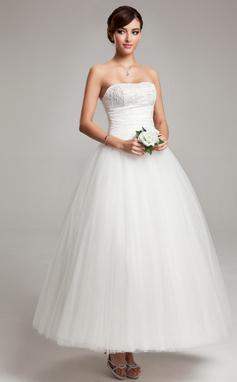De baile Amada Longuete Tecido de seda Tule Vestido de noiva com Pregueado Renda (002017565)