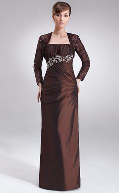 Sheath/Column Strapless Floor-Length Taffeta Mother of the Bride Dress With Ruffle Beading (008021716)