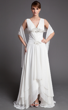 A-Line/Princess V-neck Asymmetrical Chiffon Mother of the Bride Dress With Ruffle Lace Beading Sequins (008005972)
