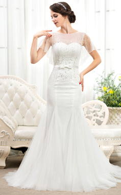Trumpet/Mermaid Scoop Neck Court Train Tulle Lace Wedding Dress With Beading Sequins Bow(s) (002055917)