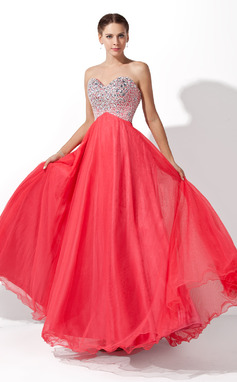 A-Line/Princess Sweetheart Floor-Length Tulle Prom Dresses With Beading (018004812)