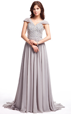 A-Line/Princess V-neck Sweep Train Chiffon Prom Dress With Ruffle Lace Beading Sequins (018025308)