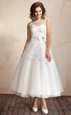 A-Line/Princess Scoop Neck Ankle-Length Organza Wedding Dress With Ruffle Lace Crystal Brooch Bow(s) (002012216)