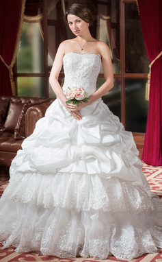 Duchesse-Linie Herzausschnitt Kapelle-schleppe Taft Brautkleid mit Rüschen Spitze Perlen verziert (002000268)