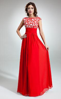 Vestidos princesa/ Formato A Decote redondo Longos De chiffon Vestido de Férias com Pregueado Renda (020032261)