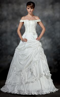 Duchesse-Linie Schulterfrei Hof-schleppe Taft Brautkleid mit Rüschen Perlen verziert Applikationen Spitze Kristalle Blumen Brosche (002017193)
