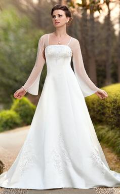 A-Lijn/Prinses Vierkante Halslijn Kapel sleep De Chiffon Satijn Bruidsjurk met Geborduurd (002011989)