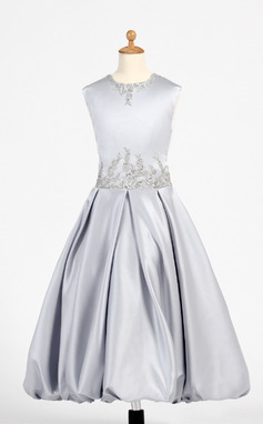 A-Line/Princess Tea-length Flower Girl Dress - Charmeuse Sleeveless Scoop Neck With Embroidered (010008074)