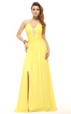 A-Line/Princess Halter Floor-Length Chiffon Prom Dress With Ruffle Beading Split Front (018135246)