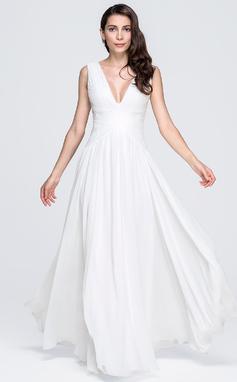 Vestidos princesa/ Formato A Decote V Longos De chiffon Vestido de festa com Pregueado (017071582)