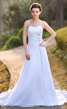 Forme Princesse Bustier en coeur Traîne moyenne Mousseline Satiné Robe de mariée avec Plissé Emperler Motifs appliqués Dentelle Sequins (002004588)
