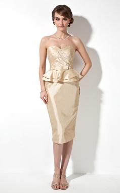 Etui-Linie Herzausschnitt Knielang Taft Kleid für die Brautmutter mit Rüschen Perlen verziert (008003203)