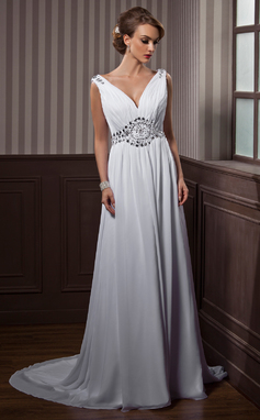 A-Line/Princess V-neck Court Train Chiffon Wedding Dress With Ruffle Beading (002011388)