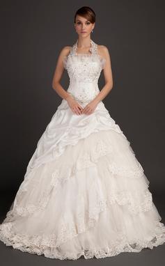 Ball-Gown Halter Chapel Train Taffeta Wedding Dress With Lace Beading (002015494)