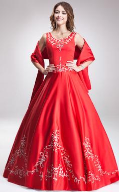 Платье для Балла Круглый Длина до пола Атлас Пышное платье с Вышито Бисер (021003160)