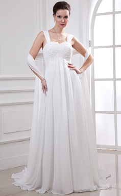 Empire Sweetheart Watteau Train Chiffon Wedding Dress With Lace Beading (002011765)