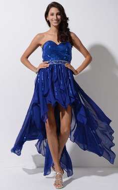 A-Line/Princess Sweetheart Asymmetrical Chiffon Sequined Prom Dress With Beading (018046228)