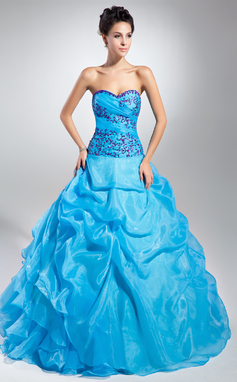 Ball-Gown Sweetheart Floor-Length Organza Prom Dress With Embroidered Ruffle Beading Sequins (018135344)