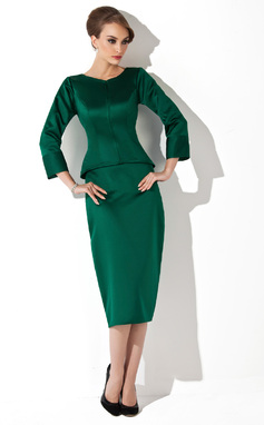 Sheath/Column Scoop Neck Tea-Length Satin Mother of the Bride Dress (008006024)