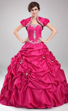 Платье для Балла возлюбленная Длина до пола Тафта Пышное платье с Рябь развальцовка аппликации кружева блестки (021004559)
