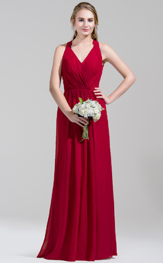 A-Line/Princess V-neck Floor-Length Chiffon Bridesmaid Dress With Ruffle (007072792)
