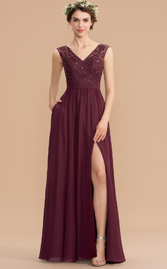 Corte A Decote V Longos Tecido de seda Renda Vestido de madrinha com Beading lantejoulas Frente aberta Bolsos (007176780)