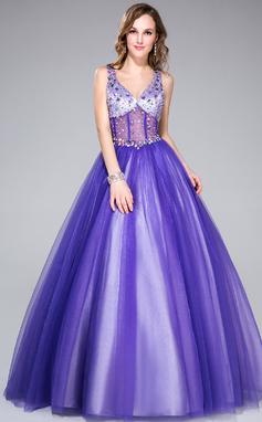 Corte de baile Escote en V Hasta el suelo Tul Vestido de quinceañera con Bordado (018044972)