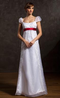 A-Line/Princess Scoop Neck Floor-Length Organza Wedding Dress With Sash Beading (002015046)