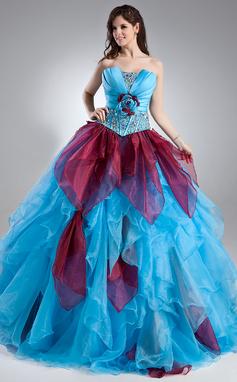 Платье для Балла Волнистый Длина до пола Органза Пышное платье с Бисер Цветы Ниспадающие оборки (021015938)