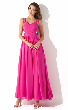 A-Line/Princess Sweetheart Ankle-Length Chiffon Prom Dress With Ruffle Beading (018020699)