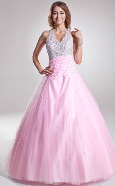 A-Line/Princess Halter Floor-Length Tulle Quinceanera Dress With Ruffle Beading Sequins (021004662)
