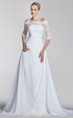 A-Line/Princess Off-the-Shoulder Court Train Chiffon Lace Wedding Dress With Beading Sequins (002004524)