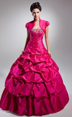 Ball-Gown Strapless Floor-Length Taffeta Prom Dress With Ruffle Beading (018135349)