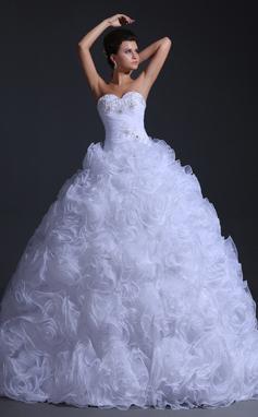 Forme Marquise Bustier en coeur Longueur ras du sol Organza Robe de mariée avec Plissé Emperler (002017332)