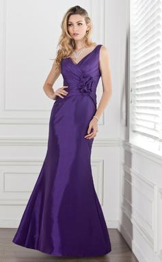 Раструб/Платье-русалка V-образный Длина до пола Тафта Платье Подружки Невесты с Рябь Цветы (007000884)