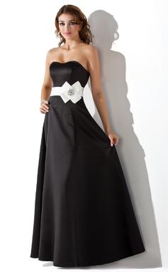 Empire-Linie Herzausschnitt Bodenlang Satin Brautjungfernkleid mit Schleifenbänder/Stoffgürtel Perlen verziert Blumen (007004287)