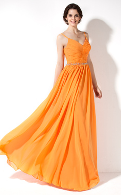 A-Line/Princess V-neck Floor-Length Chiffon Bridesmaid Dress With Ruffle Beading (007022551)