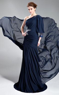 Vestidos princesa/ Formato A Um ombro Cauda de sereia De chiffon Vestido de festa com Pregueado Bordado (017019762)
