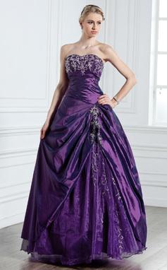 Платье для Балла В виде сердца Длина до пола Тафта Пышное платье с Вышито Бисер (021005237)