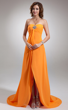 Empire Sweetheart Asymmetrical Chiffon Holiday Dress With Ruffle Beading (020025950)