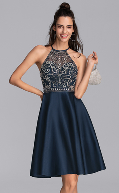 A-Line Scoop Neck Knee-Length Satin Homecoming Dress With Beading Sequins Pockets (022206518)