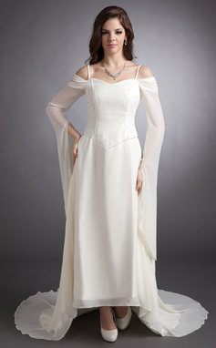 Corte A/Princesa Hombros caídos Asimétrico Chifón Vestido de baile de promoción con Bordado (018016247)