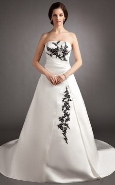 Ball-Gown Strapless Court Train Satin Wedding Dress With Ruffle Beading Appliques Lace Sequins (002012062)