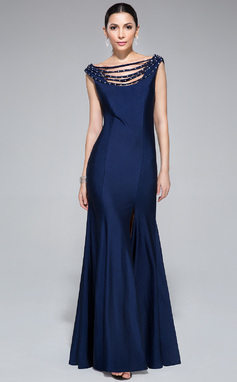 Trompete/Sereia Sem o ombro Longos Jersey Vestido de festa com Bordado Lantejoulas Frente aberta (017045200)